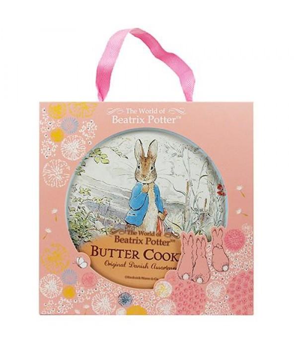 )比得兔丹麥牛油曲奇餅(粉紅色禮盒版) (藍色比得兔站在石階上)Peter Rabbit  Denmark Butter Cookies 26%(Pink Gift Box